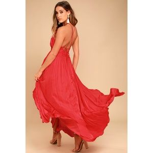 NWT Lulus On My Own Red Halter Maxi Dress S